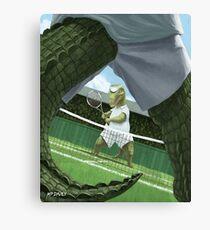 crocodiles playing tennis  Canvas Print