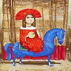 Musician on the blue horse by Tigran Akopyan