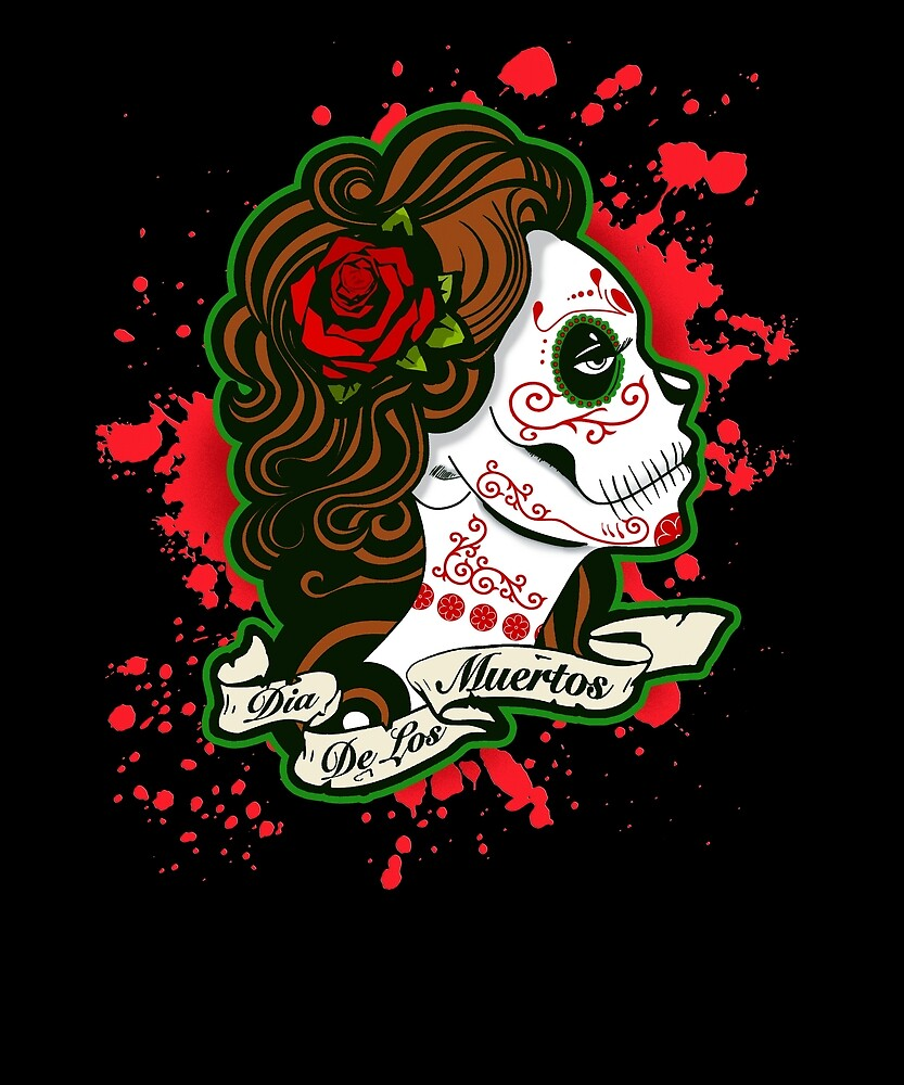 This Day of the Dead Sugar Skull Design by Merch-Tees