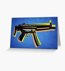 MP5 Sub Machine Gun on Blue Greeting Card