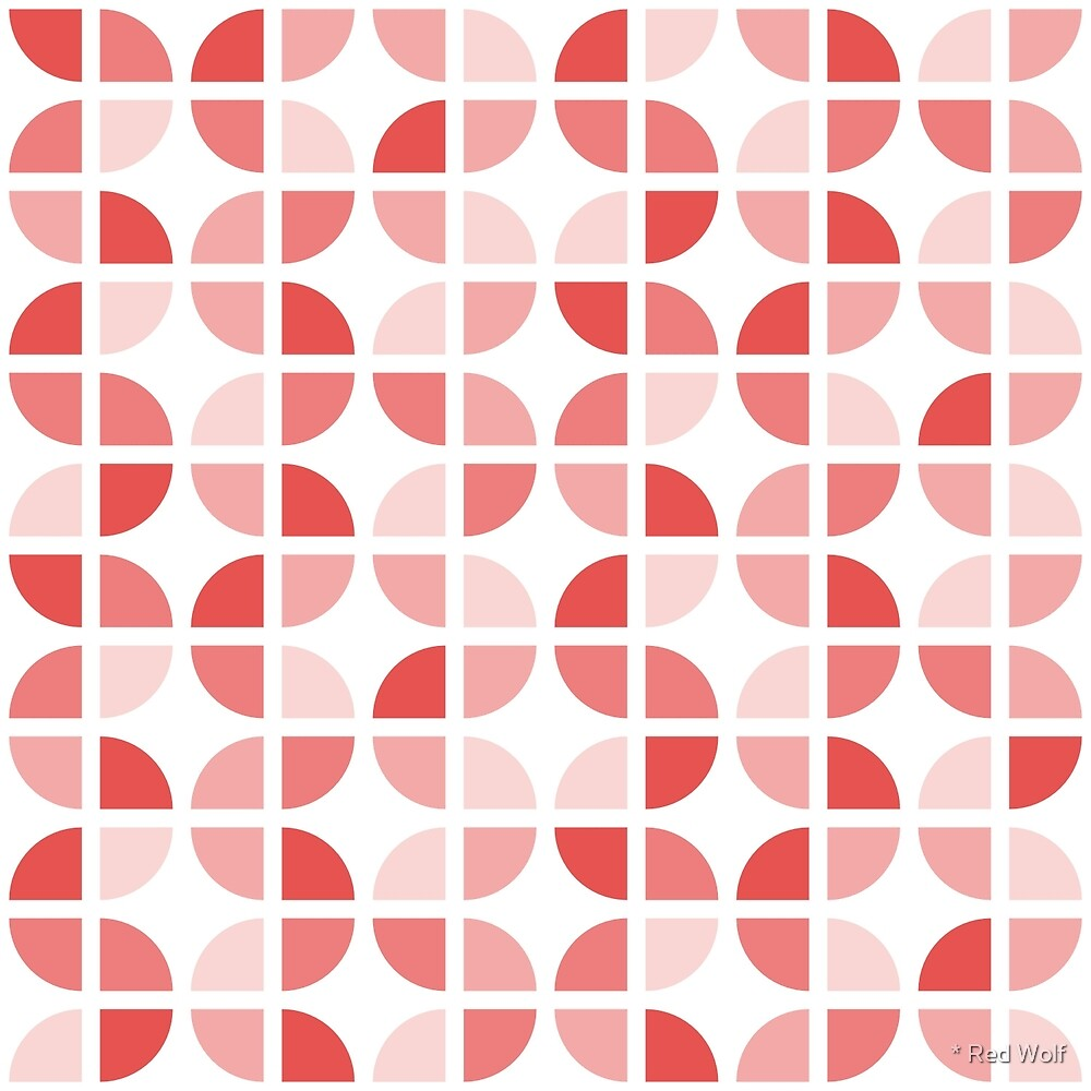 Geometric Pattern: Quarter Circle: Light/Red by * Red Wolf