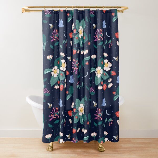 Midnight Strawberry Patch Shower Curtain