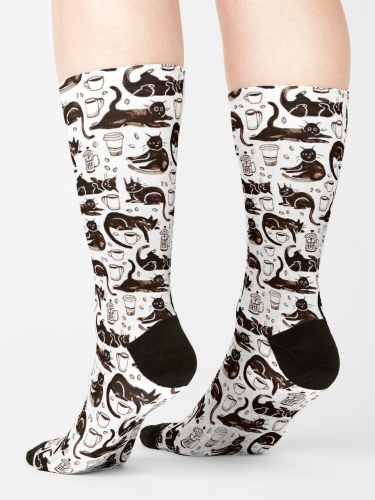 Alternate view of Gouache Black Cats & Coffee Socks