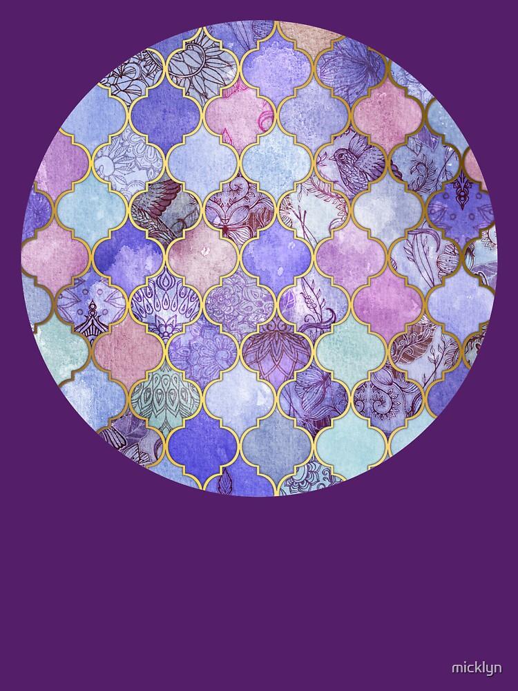 Königliches purpurrotes, malvenfarbenes u. Indigo-dekoratives marokkanisches Fliesen-Muster von micklyn