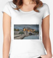 Conwy Castle by Lamplight Women's Fitted Scoop T-Shirt