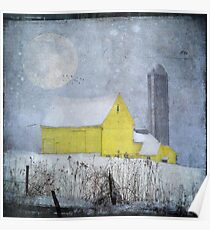 Old Yellow Barn Poster