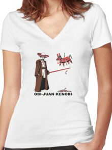Obi-Juan Kenobi Women's Fitted V-Neck T-Shirt