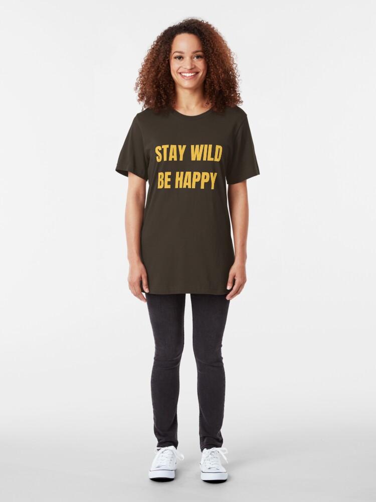 Alternative Ansicht von Stay Wild Be Happy - Funny Safari Explorer Slim Fit T-Shirt