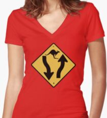Kangaroo! Women's Fitted V-Neck T-Shirt