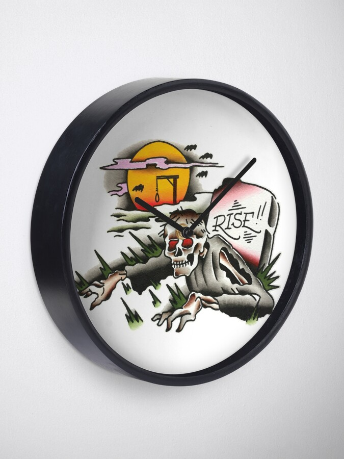 Alternate view of Traditional Rising Zombie Tattoo Design Clock