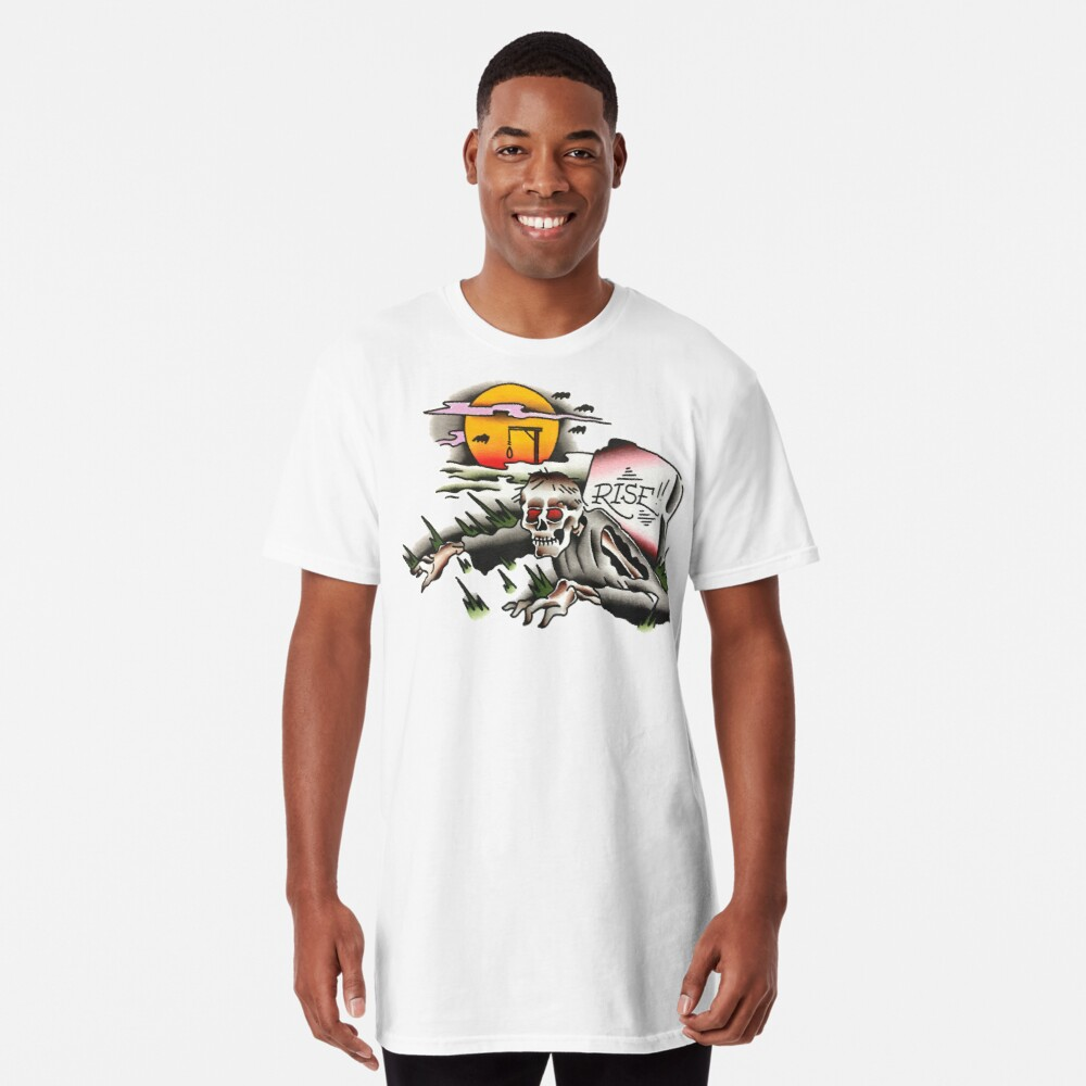 Traditional Rising Zombie Tattoo Design Long T-Shirt