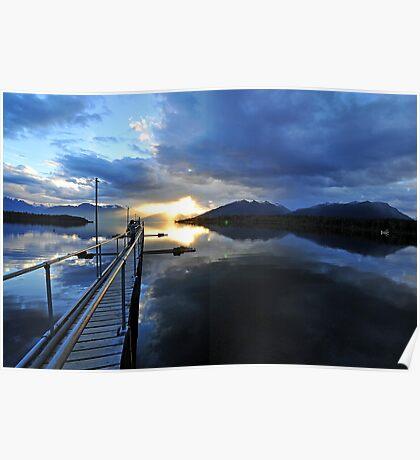 Lake Te Anau at sunset. South Island, New Zealand. Poster