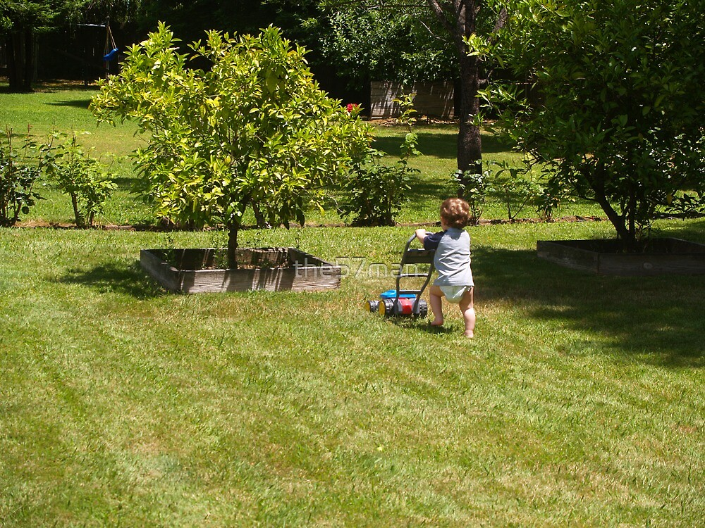 I love my Grandson....thats why I let him mow the lawn! by the57man