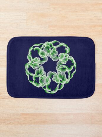 Spirals with Green and White Bath Mat