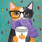 Calico Autumn Coffee Cat by Ryan Conners