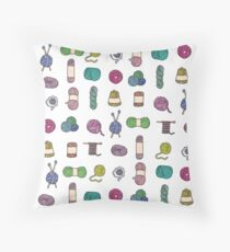 Balls of Yarn - Knitting Watercolor Throw Pillow