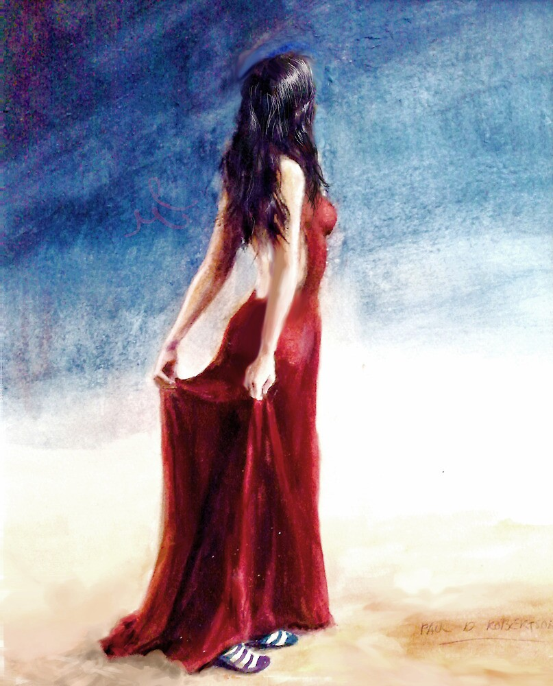 If Love is a Red Dress; watercolors by Paul Douglas Robertson