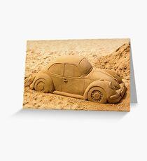 Volkswagen Beetle on Beach Greeting Card