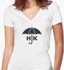 Hong Kong - Black Fitted V-Neck T-Shirt