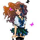 Cute anime school girl by Amysunluvr