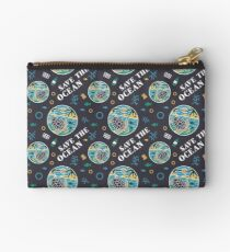 Save The Ocean Keep the Sea Plastic Free Turtle Scene Zipper Pouch