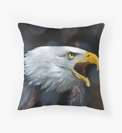 Screaming Bald Eagle Throw Pillow