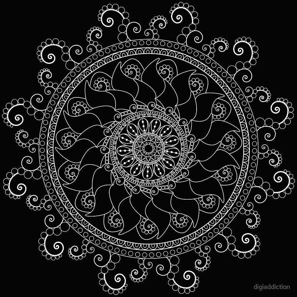 Mandala Doodle Tangle by digiaddiction