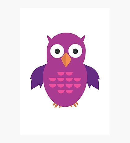 Purple & Purple Owl Photographic Print