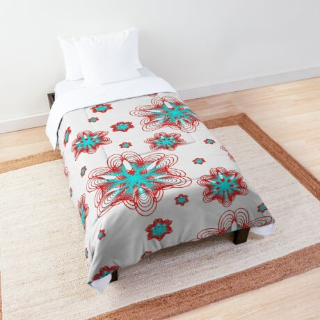 Spirographs with red and blue pattern Comforter
