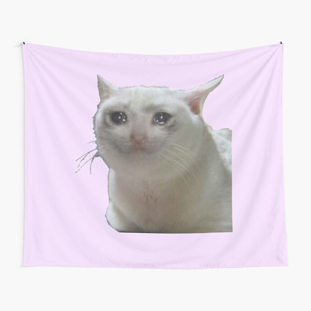 Crying Cat  Wall Tapestry