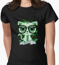 Nice Kitty - Black & Green Womens Fitted T-Shirt