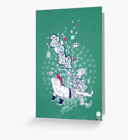 Neo/Neo//Now///Teal//Art Greeting Card