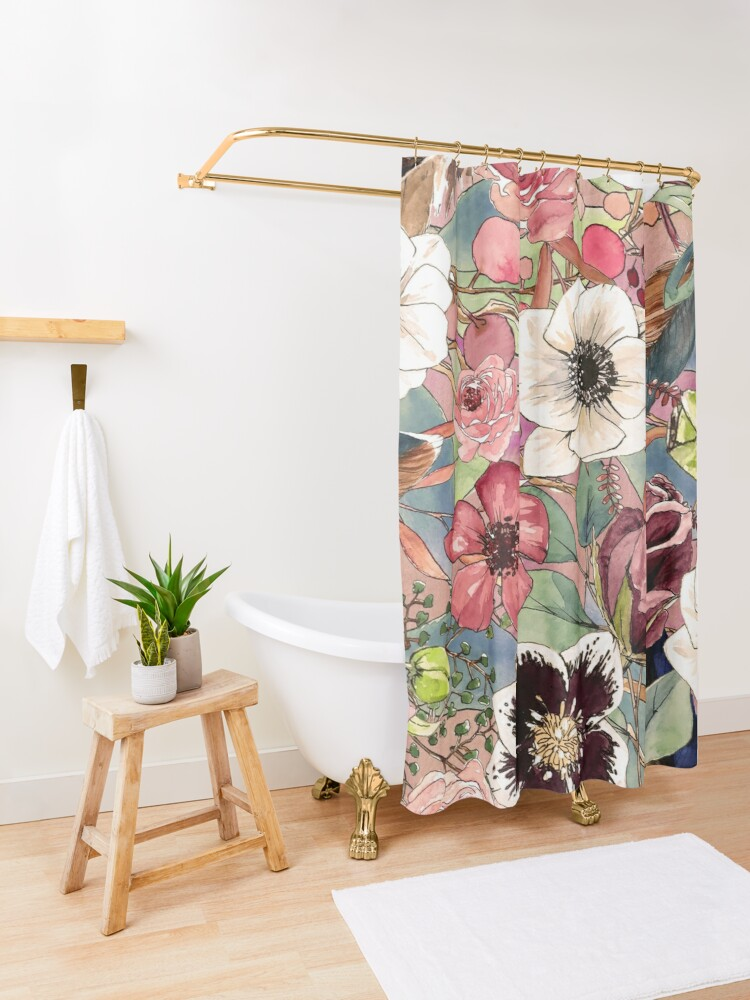Alternate view of Boho Flowers Pattern Shower Curtain