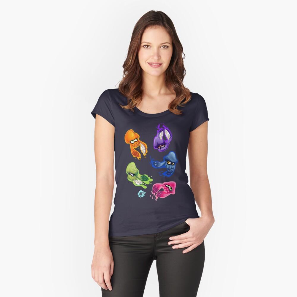 Calamares Splatoon tintados Camiseta entallada de cuello ancho