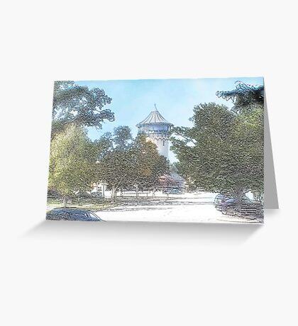 Summer Water Tower, Riverside, Illinois Greeting Card