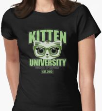Kitten University - Green 2 Womens Fitted T-Shirt