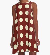 Burgundy and Cream Polka Dots A-Line Dress