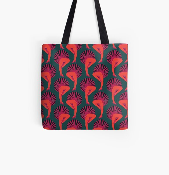 French Cancan Orange All Over Print Tote Bag