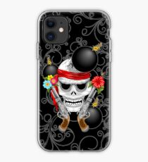 Pirate Skull, Ancient Guns, Flowers and Cannonballs iPhone Case