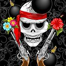 Pirate Skull, Ancient Guns, Flowers and Cannonballs by BluedarkArt