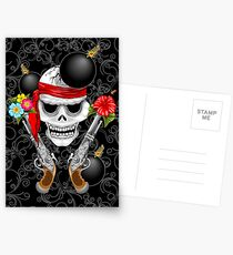 Pirate Skull, Ancient Guns, Flowers and Cannonballs Postcards