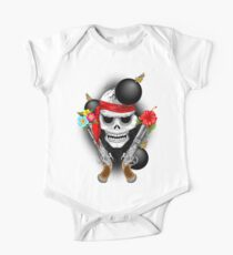 Pirate Skull, Ancient Guns, Flowers and Cannonballs Short Sleeve Baby One-Piece