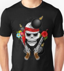 Pirate Skull, Ancient Guns, Flowers and Cannonballs Slim Fit T-Shirt