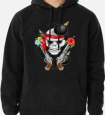 Pirate Skull, Ancient Guns, Flowers and Cannonballs Pullover Hoodie