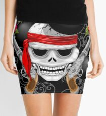Pirate Skull, Ancient Guns, Flowers and Cannonballs Mini Skirt
