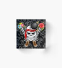 Pirate Skull, Ancient Guns, Flowers and Cannonballs Acrylic Block