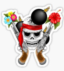 Pirate Skull, Ancient Guns, Flowers and Cannonballs Sticker