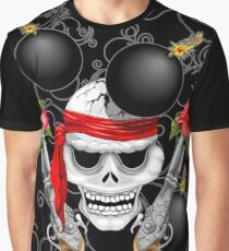 Pirate Skull, Ancient Guns, Flowers and Cannonballs Graphic T-Shirt
