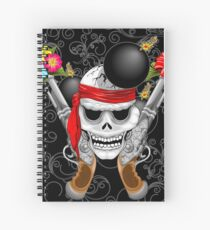 Pirate Skull, Ancient Guns, Flowers and Cannonballs Spiral Notebook