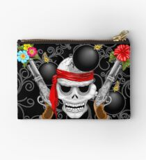 Pirate Skull, Ancient Guns, Flowers and Cannonballs Zipper Pouch